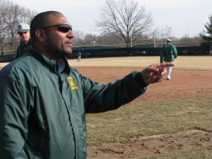 Archive Photo: Tony Dattoli, former Archers' baseball head coach, directs his players during a practice.