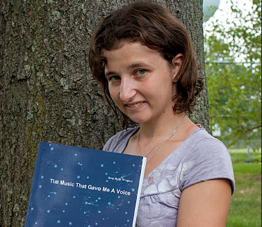 "Meramec student Amy Shapiro displays the book she published. The book ""The Music That Gave Me A Voice"" details her struggle with learning disabilities and how music helped her cope. PHOTO 